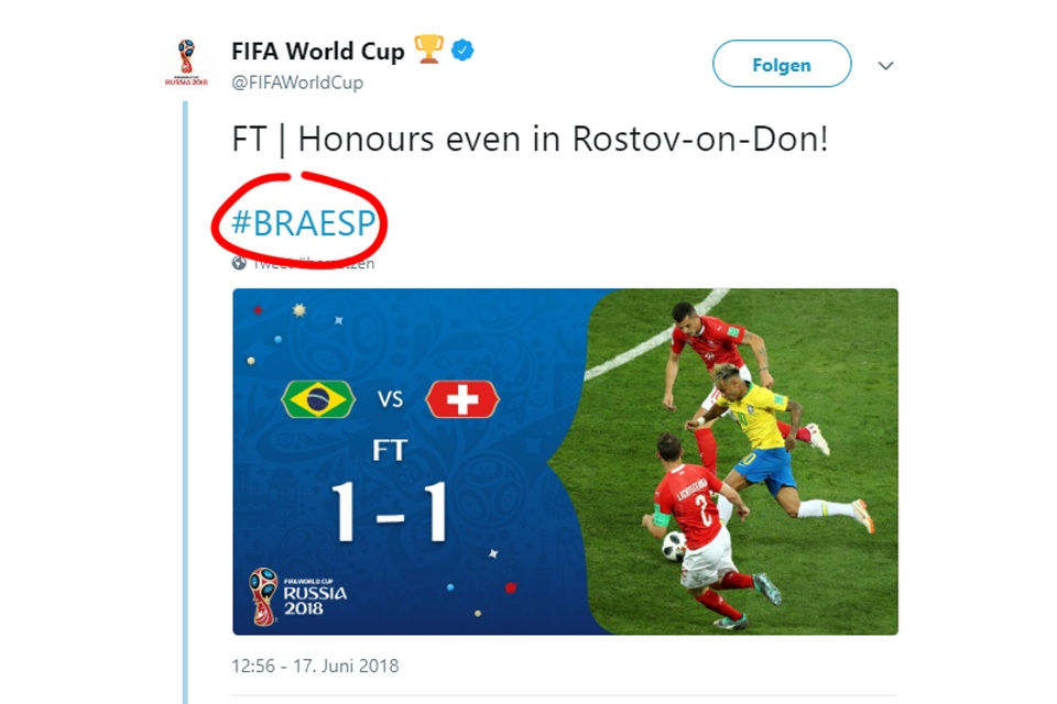 Screenshot offizieller Twitter-Account der FIFA