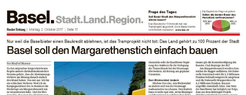 """Zum <a href=""""https://bazonline.ch/basel/land/basel-soll-den-margarethenstich-einfach-bauen/story/21001544"""">Gastbeitrag</a> von Manfred Messmer vom Montag, 2. Oktober 2017"""