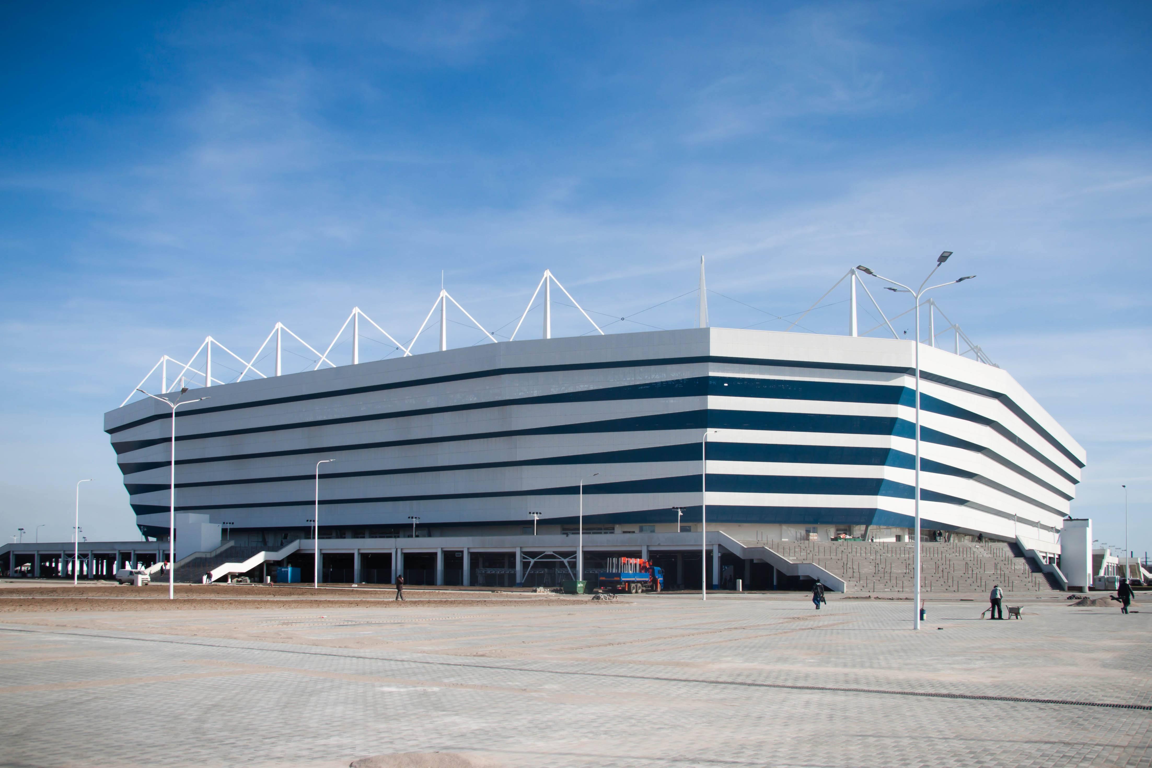 <i>Das Kaliningrad-Stadion (russisch Калининградский Стадион), auch Arena Baltika genannt.</i>