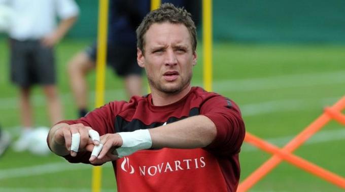 Marcel Herzog in einem Training, als er in der Saison 2011/12 Ersatzgoalie beim FC Basel war